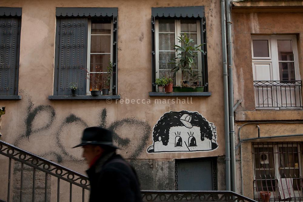 Rue Pouteau in La Croix Rousse district, Lyon, France, 14 January 2012