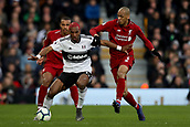 17th March 2019, Craven Cottage, London, England; EPL Premier League football, Fulham versus Liverpool; Ryan Babel of Fulham is under pressure from Fabinho of Liverpool