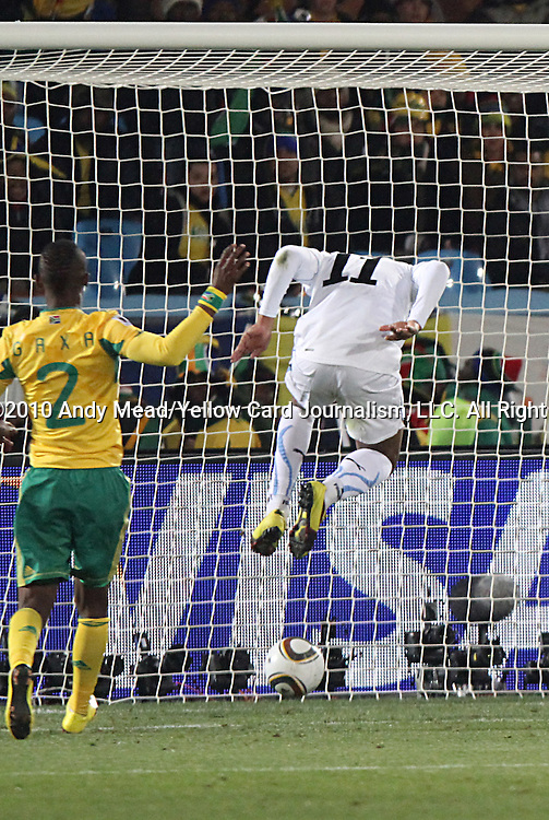 16 JUN 2010:  Alvaro Pereira (URU)(11) scores a header goal in front of the net.  The South Africa National Team were defeated bythe Uruguay National Team 0-3 at Loftus Versfeld Stadium in Tshwane/Pretoria, South Africa in a 2010 FIFA World Cup Group A match.