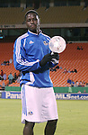 27 October 2007: Kansas City's Eddie Johnson poses with the team MVP award. The Kansas City Wizards defeated Club Deportivo Chivas USA 1-0 in the first leg of their Major League Soccer Western Conference Semifinal playoff series at Arrowhead Stadium in Kansas City, Missouri.