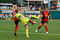 Rochester, NY - Saturday July 09, 2016: Seattle Reign FC forward Manon Melis (14), Western New York Flash defender Abigail Dahlkemper (13) during a regular season National Women's Soccer League (NWSL) match between the Western New York Flash and the Seattle Reign FC at Frontier Field.