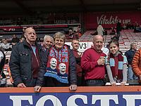 Burnley fans <br /> <br /> Photographer David Horton/CameraSport<br /> <br /> The Premier League - Bournemouth v Burnley - Saturday 6th April 2019 - Vitality Stadium - Bournemouth<br /> <br /> World Copyright © 2019 CameraSport. All rights reserved. 43 Linden Ave. Countesthorpe. Leicester. England. LE8 5PG - Tel: +44 (0) 116 277 4147 - admin@camerasport.com - www.camerasport.com
