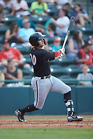 Tate Blackman (20) of the Kannapolis Intimidators follows through on his swing against the Hickory Crawdads at L.P. Frans Stadium on July 20, 2018 in Hickory, North Carolina. The Crawdads defeated the Intimidators 4-1. (Brian Westerholt/Four Seam Images)