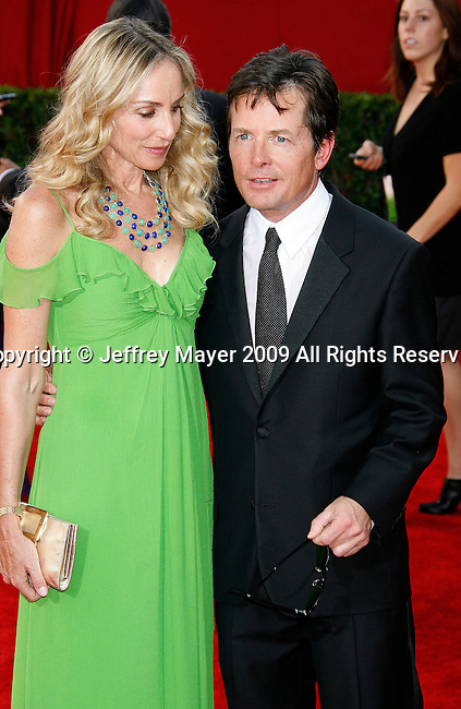 LOS ANGELES, CA. - September 20: Tracy Pollan and actor Michael J. Fox arrive at the 61st Primetime Emmy Awards held at the Nokia Theatre on September 20, 2009 in Los Angeles, California.