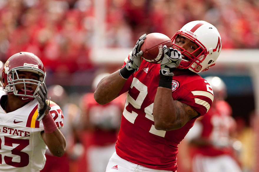 24 October 2009:  Nebraska wide receiver Niles Paul makes a catch against Iowa State at Memorial Stadium, Lincoln, Nebraska. Iowa State defeated Nebraska 9 to 7.