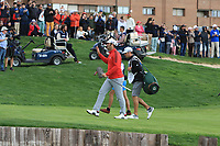 Jon Rahm (ESP) walks onto the 18th green to cheers from the supporters during Round 4 of the Open de Espana 2018 at Centro Nacional de Golf on Sunday 15th April 2018.<br /> Picture:  Thos Caffrey / www.golffile.ie<br /> <br /> All photo usage must carry mandatory copyright credit (&copy; Golffile | Thos Caffrey)