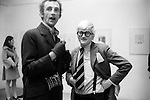 "Patrick Procktor and David Hockney. Hockney opening night show  ""Recent Etchings"" at the Kasmin Gallery Bond Street London. 1969."