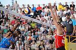 31.05.2015, Moskau, Vodny Stadion<br /> Moskau Grand Slam, Main Draw / Finale<br /> <br /> Angriff Pedro Solberg Salgado (#1 BRA) - Block Pablo Herrera (#1 ESP)<br /> <br />   Foto © nordphoto / Kurth