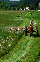 AJ1059, Vermont, tractor, harvest, Farmer cutting green field with tractor in Rochester.