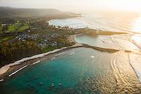 Sunset lights the beach next to Turtle Bay Resort, North Shore, O'ahu.