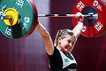 Shermetova Kristina (TKM), <br /> AUGUST 21, 2018 - Weightlifting : <br /> Women's 53kg <br /> at JIExpo Kemayoran Hall A <br /> during the 2018 Jakarta Palembang Asian Games <br /> in Jakarta, Indonesia. <br /> (Photo by Naoki Nishimura/AFLO SPORT)