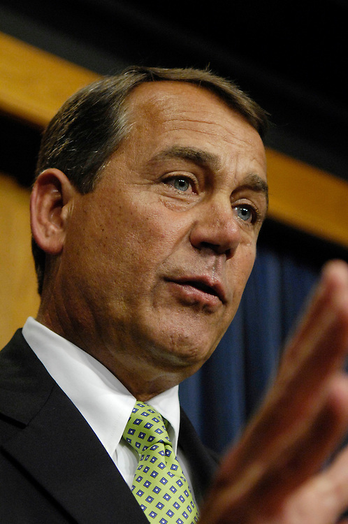 03/08/07--House Minority Leader John A. Boehner, R-Ohio, during a news conference after Democratic leaders announced a plan to set an ultimate deadline of August 2008 for removing troops from combat in Iraq and would require the president to certify by July that Iraqis are meeting key political benchmarks. Democratic leaders described the proposal as the ÒTroop Readiness, Veterans Health and Iraq Accountability Act.Ó In addition to setting deadlines in Iraq, the plan would add $3.5 billion for veterans health care and would require President Bush to adhere to existing military readiness standards, though he would be allowed to sign waivers. Early indications by Democrats seem to point to a growing consensus in support of the plan, even by those most likely to oppose it. Congressional Quarterly Photo by Scott J. Ferrell