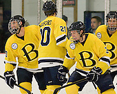 Brett Hartung (Bentley - 10), Zach Ledford (Bentley - 20), Justin Breton (Bentley - 3) - The Bentley University Falcons defeated the visiting University of Alabama-Huntsville Chargers 9-1 on Friday, October 26, 2012, at the John A. Ryan Skating Center in Watertown, Massachusetts.