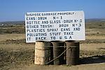 Campground trash sign south of San Quintin, Baja California, Mexico