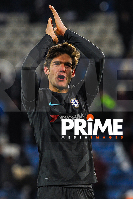 Chelsea's Marcus Alonso thanking the Chelsea fans during the FA Cup QF match between Leicester City and Chelsea at the King Power Stadium, Leicester, England on 18 March 2018. Photo by Stephen Buckley / PRiME Media Images.