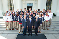 The USA National Soccer Team poses for a White House Team Photo with President Barak Obama, Vice President Joe Biden, and President Bill Clinton, in Washington D.C., Thursday, May 27, 2010.
