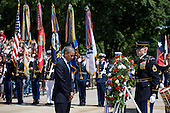 United States President Barack Obama pauses after laying a wreath at the Tomb of the Unknown Soldier at Arlington National Cemetery, May 26, 2014 in Arlington, Virginia. President Obama returned to Washington Monday morning after a surprise visit to Afghanistan to visit U.S. troops at Bagram Air Field. <br /> Credit: Drew Angerer / Pool via CNP