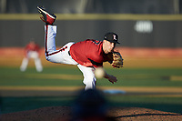 Louisville Cardinals relief pitcher Bryan Hoeing (27) delivers a pitch to the plate against the Wake Forest Demon Deacons at David F. Couch Ballpark on March 17, 2018 in  Winston-Salem, North Carolina.  The Cardinals defeated the Demon Deacons 11-6.  (Brian Westerholt/Four Seam Images)