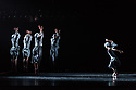 "London, UK. 14.03.2019. Ballet Black present a Triple Bill Featuring ""Ingoma"" in the Barbican Theatre. The piece shown is: Ingoma. The choreographer is Mthuthuzeli November Design is by Yann Seabra, with lighting design by David Plater. The dancers are: Jose Alves, Sayaka Ichikawa, Isabela Coracy, Mthuthuzeli November, Marie Astrid Mence, Ebony Thomas, Isabela Coracy, Cira Robinson. Photograph © Jane Hobson."
