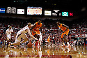12 February 2011: Nebraska Cornhuskers forward Brandon Ubel #13 and Oklahoma State Cowboys forward Roger Franklin #32 scramble for a loose ball during the first half at the Devaney Sports Center in Lincoln, Nebraska. Nebraska defeated Oklahoma State 65 to 54.