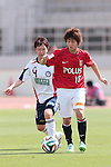 (L to R) <br /> Motoyo Hosokawa (Belle), <br /> Chinatsu Kira (reds), <br /> MAY 4, 2014 - Football /Soccer : <br /> Plenus Nadeshiko League 2014 <br /> between Urawa Reds Ladies 1-3 Okayama Yunogo Belle <br /> at Saitama Urawa Komaba Stadium, Saitama, Japan. <br /> (Photo by AFLO SPORT) [1205]