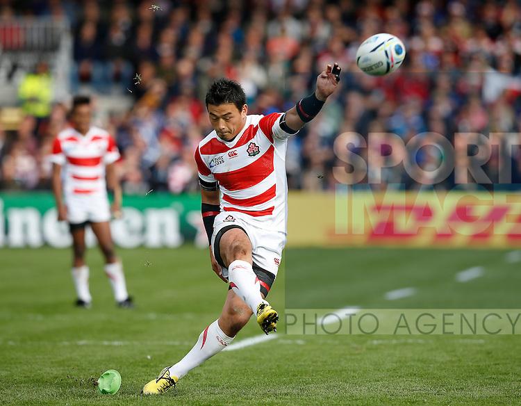 Ayumu Goromaru of Japan takes a penalty kick - Rugby World Cup 2015 - Pool B - Scotland vs Japan - Kingsholm Stadium - Gloucester - England - 23rd September 2015 - Picture Simon Bellis/Sportimage