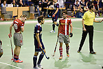 Berlin, Germany, January 31: During the 1. Bundesliga Herren Hallensaison 2014/15 semi-final hockey match between Rot-Weiss Koeln (dark blue) and Club an der Alster (red) on January 31, 2015 at the Final Four tournament at Max-Schmeling-Halle in Berlin, Germany. Final score 4-3 (2-2). (Photo by Dirk Markgraf / www.265-images.com) *** Local caption *** Dieter Enrique Linnekogel #16 of Club an der Alster