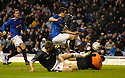 11/11/2006       Copyright Pic: James Stewart.File Name :sct_jspa17_rangers_v_dunfermline.RODDY MCKENZIE SAVES AT THE FEET OF BARRY FERGUSON.James Stewart Photo Agency 19 Carronlea Drive, Falkirk. FK2 8DN      Vat Reg No. 607 6932 25.Office     : +44 (0)1324 570906     .Mobile   : +44 (0)7721 416997.Fax         : +44 (0)1324 570906.E-mail  :  jim@jspa.co.uk.If you require further information then contact Jim Stewart on any of the numbers above.........