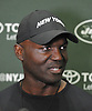 Todd Bowles, head coach, speaks with the media after a day of New York Jets Training Camp at the Atlantic Health Jets Training Center in Florham Park, NJ on Monday, Aug. 7, 2017.