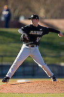 Starting pitcher Matt Fouch #18 of the Army Black Knights in action at the UNCG Baseball Stadium March 5, 2010, in Greensboro, NC.  Photo by Brian Westerholt / Four Seam Images