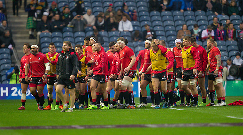 May 12th 2017, BT Murrayfield, Edinburgh, Scotland; European Rugby Challenge Cup Final; Gloucester versus Stade Francais; The Gloucester Tramm huddle after the warmup session