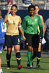 14 July 2007: United States' Natasha Kai (6) and Briana Scurry (1). The United States Women's National Team defeated their counterparts from Norway 1-0 at Rentschler Stadium in East Hartford, Connecticut in a women's international friendly soccer game.