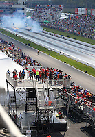 Sep 24, 2016; Madison, IL, USA; Overall view of the dragstrip of Gateway Motorsports Park during NHRA qualifying for the Midwest Nationals. Mandatory Credit: Mark J. Rebilas-USA TODAY Sports