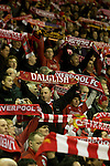 24.02.2011 Europa League Football from Anfield Liverpool v Sparta Prague. Liverpool fans show their scarves as their team take the field before the game.