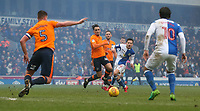 Blackburn Rovers' Jack Payne shoots past Oldham Athletic's Kean Bryan<br /> <br /> Photographer Stephen White/CameraSport<br /> <br /> The EFL Sky Bet League One - Blackburn Rovers v Oldham Athletic - Saturday 10th February 2018 - Ewood Park - Blackburn<br /> <br /> World Copyright &copy; 2018 CameraSport. All rights reserved. 43 Linden Ave. Countesthorpe. Leicester. England. LE8 5PG - Tel: +44 (0) 116 277 4147 - admin@camerasport.com - www.camerasport.com