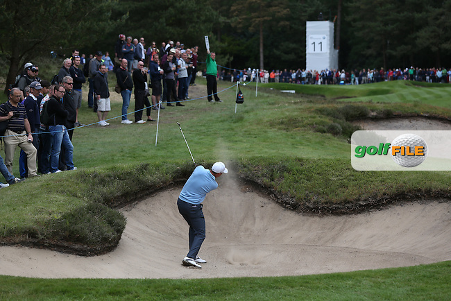 David Howell (ENG) plays out of the fairway bunker on the 11th during Round Two of the 2015 BMW PGA Championship over the West Course at Wentworth, Virginia Water, London. 22/05/2015Picture David Lloyd, www.golffile.ie.