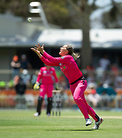 24th November 2019; Lilac Hill Park, Perth, Western Australia, Australia; Womens Big Bash League Cricket, Perth Scorchers versus Sydney Sixers; Ashleigh Gardner of the Sydney Sixers looks to take a catch off her own bowling but drops the catch - Editorial Use