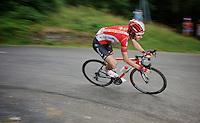 Thomas De Gendt (BEL/Lotto-Soudal) descending the Col de Chaussy (C1/1533m/14.4km@6.3%)<br /> <br /> stage 19: St-Jean-de-Maurienne - La Toussuire / Les Sybelles   (138km)<br /> Tour de France 2015