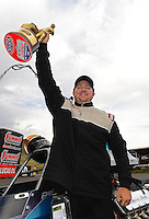 Jul, 22, 2012; Morrison, CO, USA: NHRA super comp driver A.J. Percival celebrates after winning the Mile High Nationals at Bandimere Speedway. Mandatory Credit: Mark J. Rebilas-