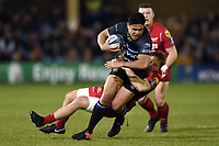 Ben Tapuai of Bath Rugby takes on the Scarlets defence. European Rugby Champions Cup match, between Bath Rugby and the Scarlets on January 12, 2018 at the Recreation Ground in Bath, England. Photo by: Patrick Khachfe / Onside Images