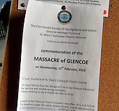 Glencoe Massacre commemoration - church notice - picture by Donald MacLeod -13.02.13 - 07702 319 738 - clanmacleod@btinternet.com - www.donald-macleod.com
