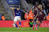 Leicester City's James Maddison (left) shoots at goal <br /> <br /> Photographer Andrew Kearns/CameraSport<br /> <br /> The Premier League - Leicester City v Aston Villa - Monday 9th March 2020 - King Power Stadium - Leicester<br /> <br /> World Copyright © 2020 CameraSport. All rights reserved. 43 Linden Ave. Countesthorpe. Leicester. England. LE8 5PG - Tel: +44 (0) 116 277 4147 - admin@camerasport.com - www.camerasport.com