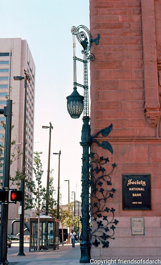 Burnham & Root: Society for Savings Bank, 1890. Lovely bronze light standard.  Photo 2001.
