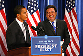 Chicago, IL - December 3, 2008 -- United States President-elect Barack Obama (L) stands with Secretary of Commerce designee and New Mexico Governor Bill Richardson as he addresses reporters at news conference in Chicago on December 3, 2008..Credit: Brian Kersey - Pool via CNP