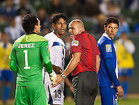 CARSON, CA – June 6, 2011: Guatemala goalie Ricardo Jerez (1) talks with the Ref while Honduras player Carlo Costly (13) listens in during the match between Guatemala and Honduras at the Home Depot Center in Carson, California. Final score Guatemala 0, Honduras 0.