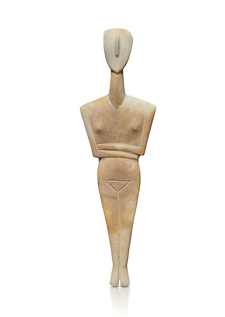 Ancient Greek Cycladic female figurine of the canonical type, Dokathismata variety, Early Cycladic period II, Syros phase, 2800-2300 BC, Museum of Cycladic Art, Athens. Against white.<br /> <br /> Attributed to the 'Ashmolean Museum Master'