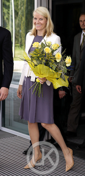 Crown Prince Haakon & Crown Princess Mette-Marit of Norway's three-day visit to Poland..Arrival at Warsaw Airport..
