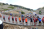 Riders scattered all over the mountain on the final Cat 1 climb up to Observatorio Astrofisico de Javalambre during Stage 5 of La Vuelta 2019 running 170.7km from L'Eliana to Observatorio Astrofisico de Javalambre, Spain. 28th August 2019.<br /> Picture: Ann Clarke | Cyclefile<br /> <br /> All photos usage must carry mandatory copyright credit (© Cyclefile | Ann Clarke)