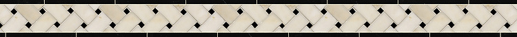"""3"""" Basketweave border, a hand-cut mosaic shown in polished Heavenly Cream and Nero Marquina by New Ravenna."""
