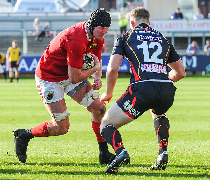 Donnacha Ryan of Munster in action during todays match<br /> <br /> Photographer Craig Thomas/CameraSport<br /> <br /> Guinness PRO12 Round 3 - Newport Gwent Dragons v Munster Rugby - Saturday 17 September 2016 - Rodney Parade - Newport<br /> <br /> World Copyright &copy; 2016 CameraSport. All rights reserved. 43 Linden Ave. Countesthorpe. Leicester. England. LE8 5PG - Tel: +44 (0) 116 277 4147 - admin@camerasport.com - www.camerasport.com